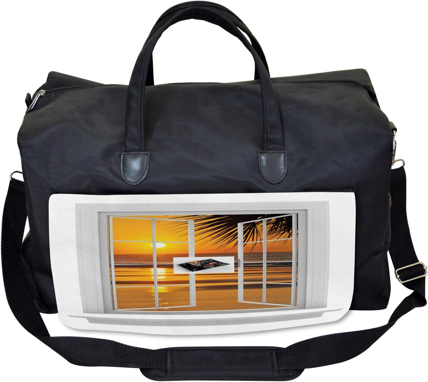 Large Weekender Carry-on Ocean Sunset View Sky Ambesonne Tropical Gym Bag