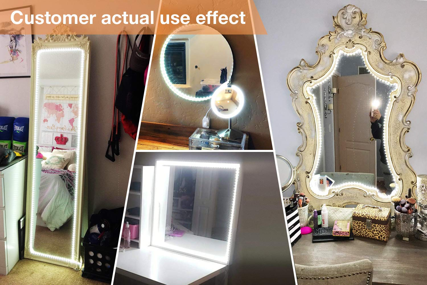 LED Vanity Mirror Lights Kit for Makeup Dressing Table Vanity Set 13ft Flexible LED Light Strip 6000K Daylight White with Dimmer and Power Supply, DIY Mirror, Mirror not Included by PANGTON VILLA (Image #2)