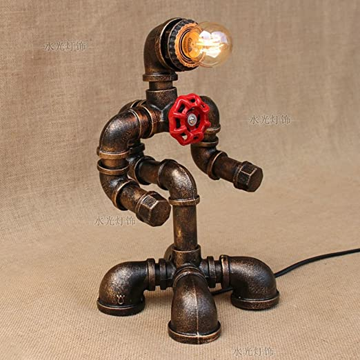 KMYX Robot Steampunk Lámpara de Escritorio Tubo de Metal Lámpara ...