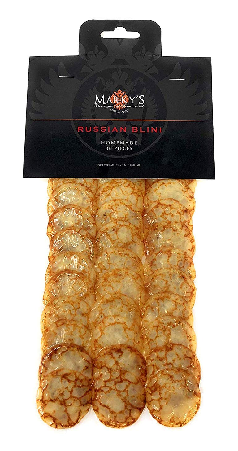 Marky's Russian Blinis for Caviar - 36 pcs - Handmade Breakfast Mini Pancakes Crepes Canape Best for Caviar and Roe by Marky's Caviar