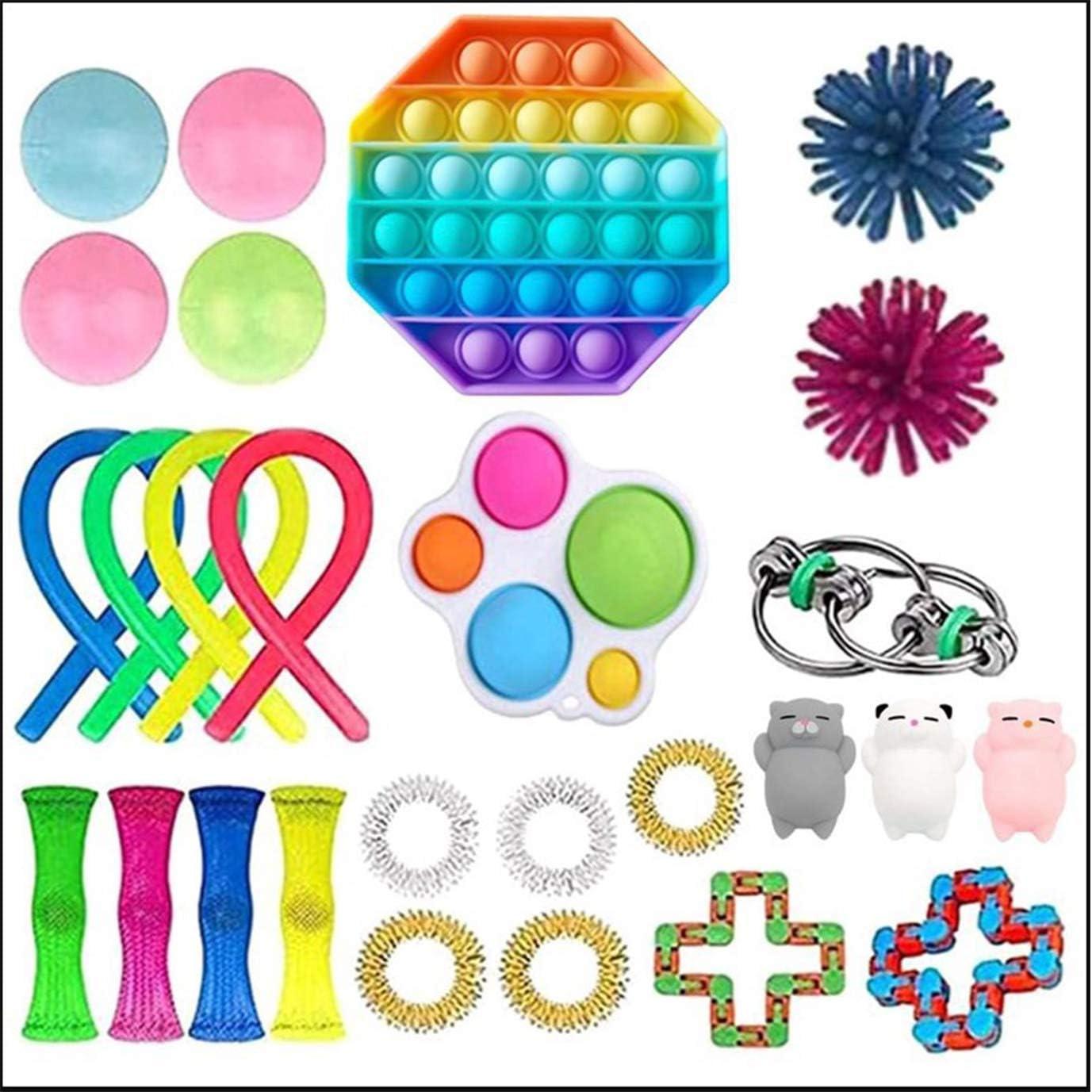 Ideal Swan 27 Pcs Sensory Fidget Toys Set Simple Dimple Fidget Toy Sensorial Fidget Juguete Fidget Set Juguetes Sensoriales Alivio del Estrés y Juguetes Sensoriales Antiansiedad para Niños y Adultos