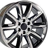 22x9 Wheel Fits GM Trucks - Chevy Tahoe Style Rim - Chrome w/Black Inserts, Hollander 5696 - SET