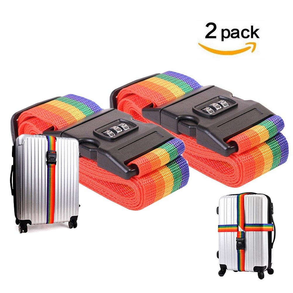 bagages Sangle de sécurité, sangle à bagages avec verrou Valise Emballage Ceinture réglable Rainbow Couleur 2packs quemu