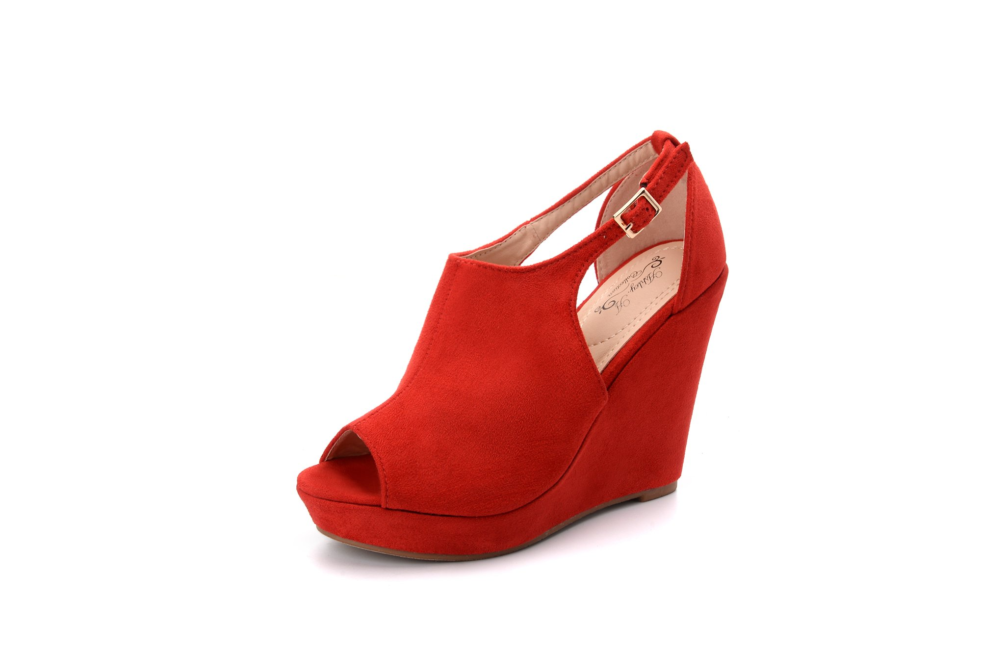 Ashley A Collection LISA02 Women's Platform Wedges Cutout Side Straps,Peep-Toe Ankle Bootie. RED10