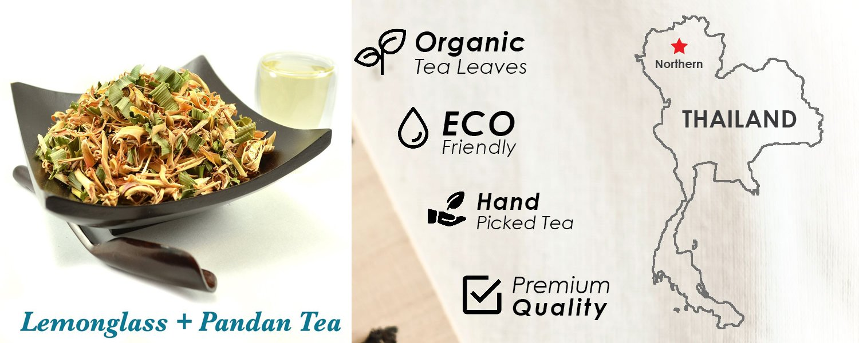 LEMONGRASS PANDAN TEA - Organic Herbal Tea Helps Blood Circulation (leaf) 3.5OZ