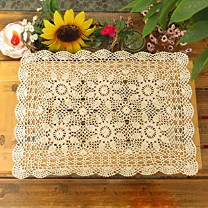 Satbuy Beige Handmade Crochet Cotton Lace Sofa Doily Flower Tablecloth for Dining Room Living Room Home Decor,Retangular,20x28inches