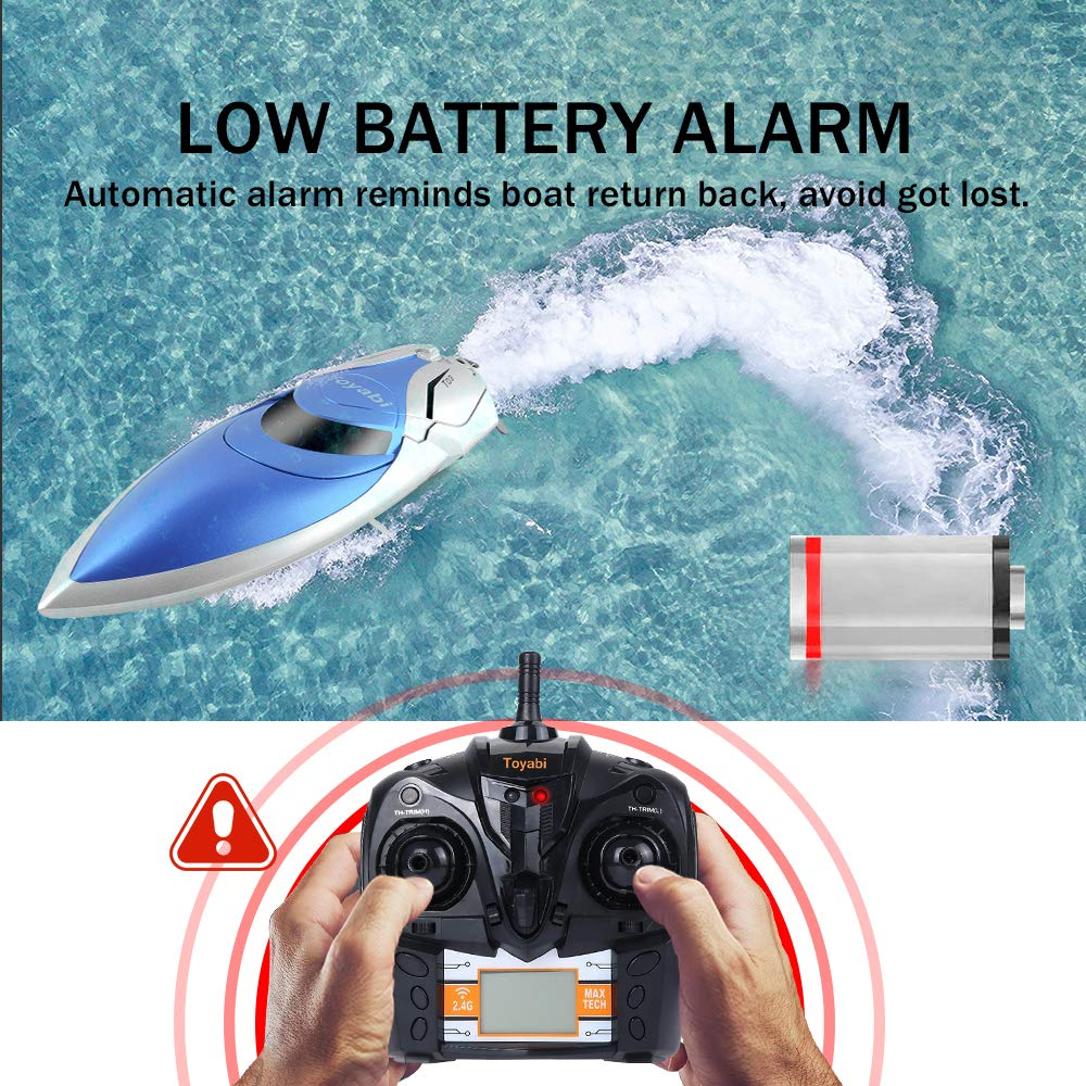 GizmoVine RC Boat High Speed (20MPH+) Remote Control Boats for Pools and Lakes with Extra Battery for Kids and Adults, 2019 Update Version (H106) by Gizmovine (Image #3)