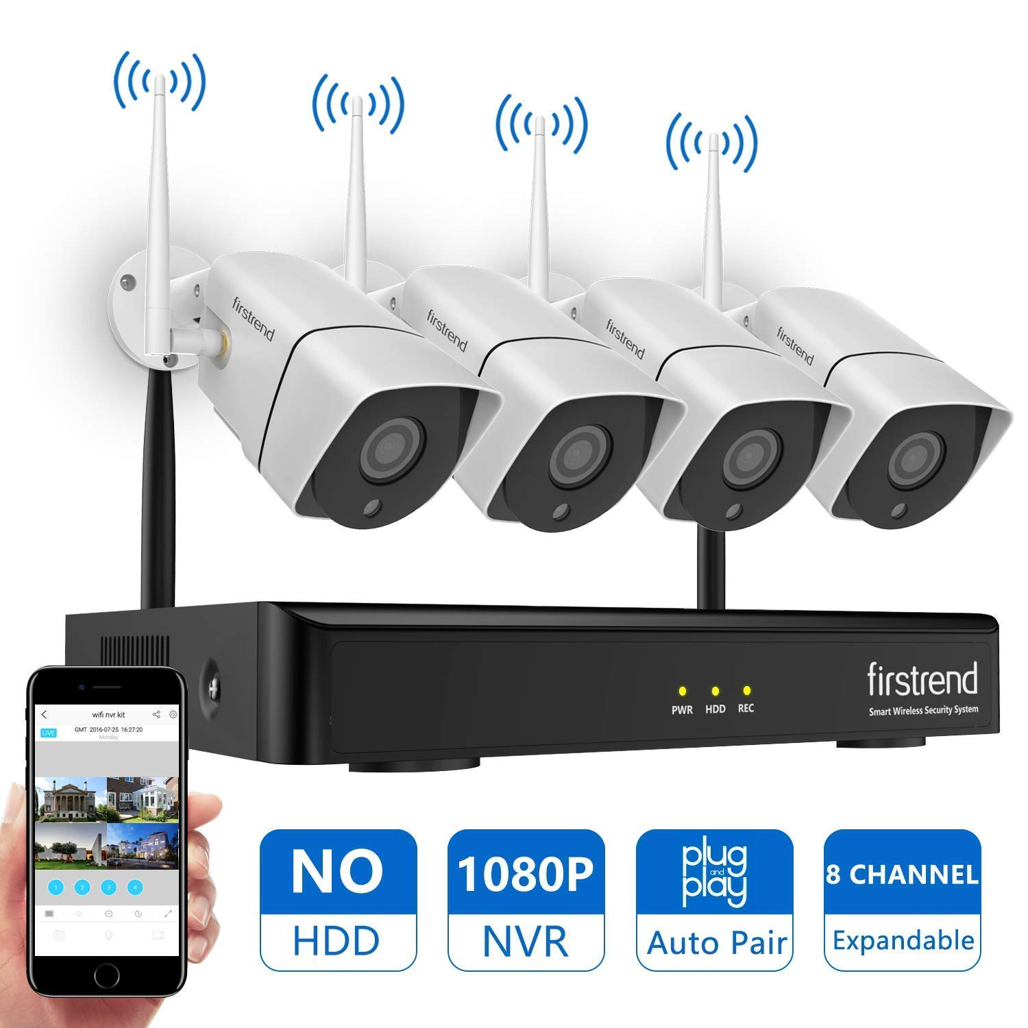 [Newest] Wireless Security Camera System, Firstrend 8CH 1080P Wireless NVR System with 4pcs 1.3MP IP Security Camera with 65ft Night Vision and Easy Remote View,P2P CCTV Camera System(No Hard Drive) by firstrend
