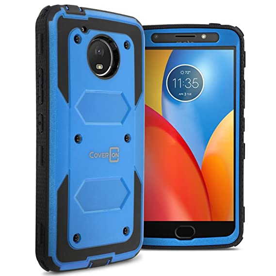 buy popular 58672 70c3f Moto E4 Plus Case (USA Version Only), CoverON Tank Series Full Body Front  and Back Heavy Duty Hard Protective Phone Cover - Blue