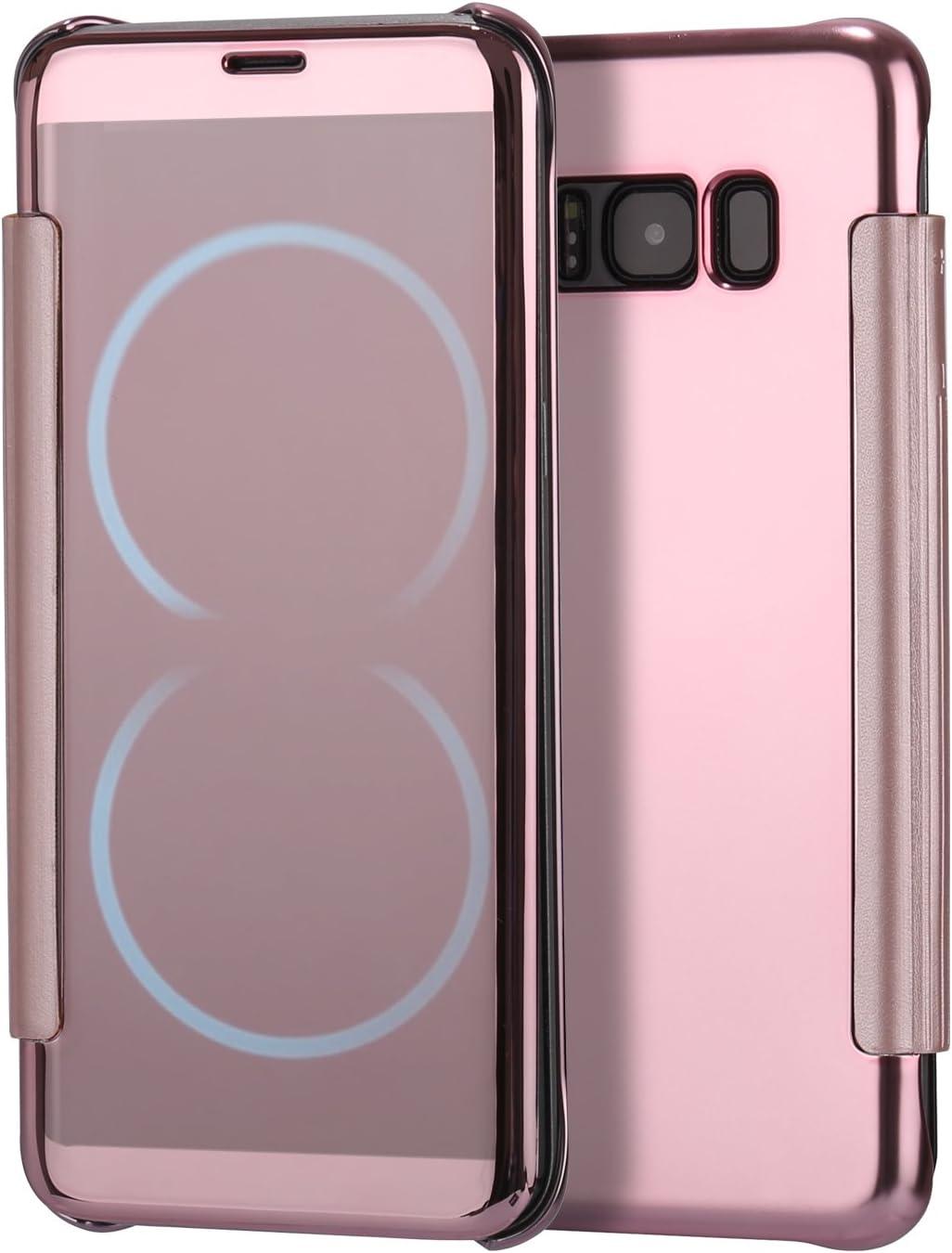 Coque Samsung Galaxy S8 Plus Or Rose,Miroir Coque pour Samsung Galaxy S8 Plus,Leweiany Ultra Mince en Cuir PU Premium Cr/éatif Cool Transparente Crystal Clair avec Placage Texture Motif Arri/ère Rigide Effet Strass Miroir Housse /à Rabat