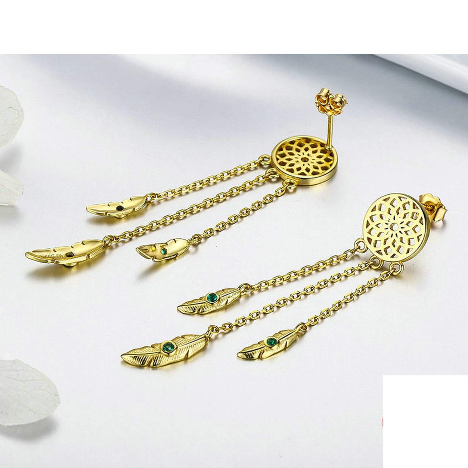 Authentic Sterling Silver Long Earrings Gold Color Vintage Leather Drop Earrings Jewelry