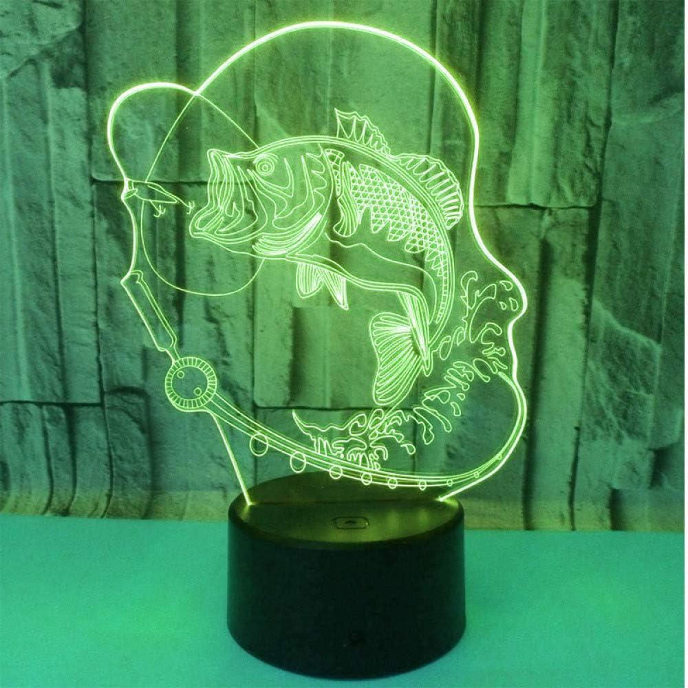 Luz de la noche de wangZJ 3d / lámpara de la ilusión óptica del led/luz de la noche del regalo de la Navidad/regalo de cumpleaños/pescado de la pesca de Go: Amazon.es: Iluminación