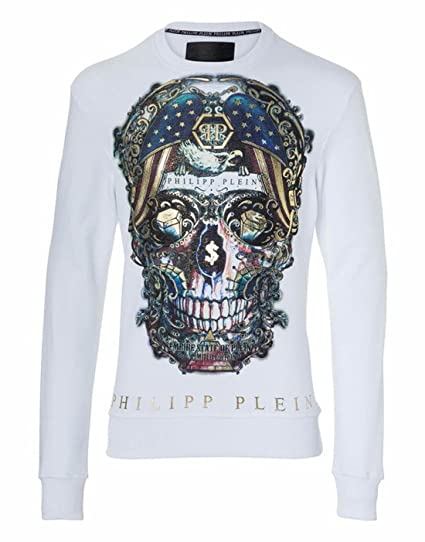Philipp Plein Sweatshirt LS Pusher, White (M)  Amazon.co.uk  Clothing e1ba1ac9b18