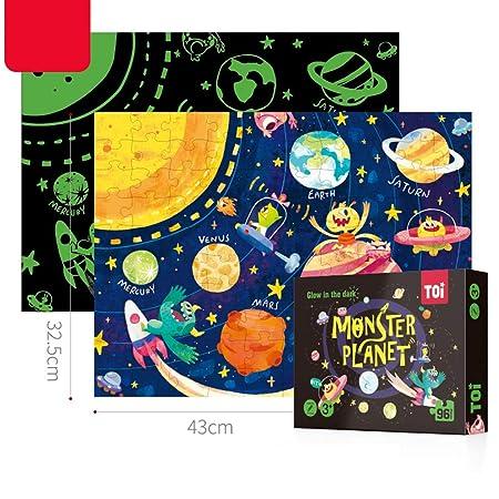 FidgetGear 96Pcs Noctilucence Puzzles Kids Educational Jigsaw Puzzle Toy Monster Planet