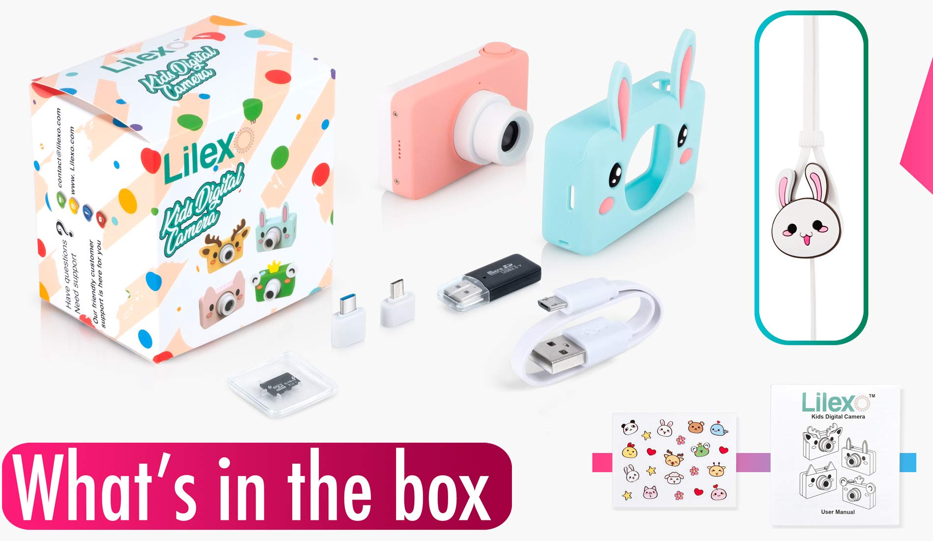 Lilexo Kids Camera - Children Shockproof Mini Digital Video Camcorder for Girls Gifts, Anti Slip Grip with Animal Silicone Cover for Extra Protection - 16GB Memory Card Included (Blue Rabbit) by Lilexo (Image #9)