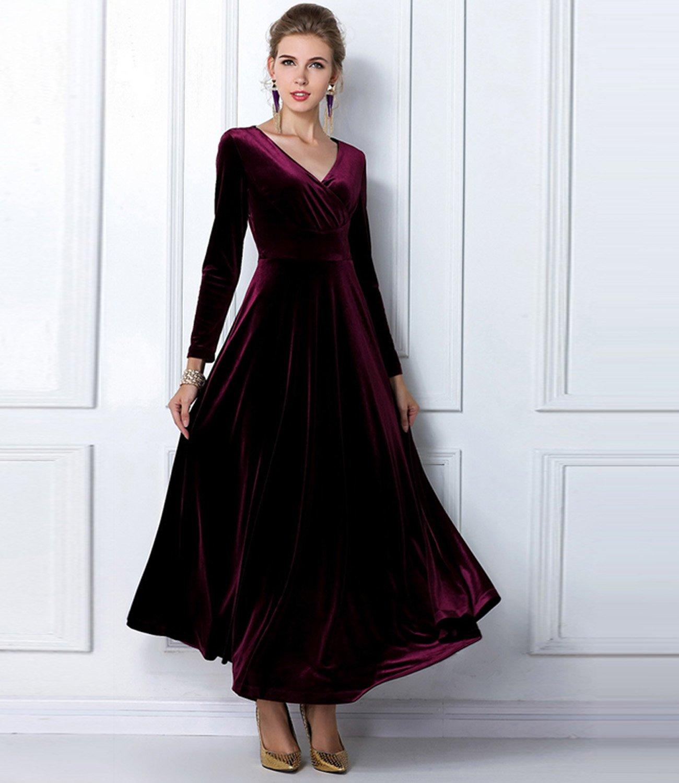 Medeshe Womens Burgundy Red Long Velvet Formal Party Prom Dress Gown (UK 8/10, Burgundy Red): Amazon.co.uk: Clothing