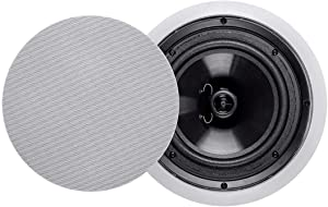 Monoprice 2-Way Polypropylene Ceiling Speakers - 8 Inch (Pair) with Paintable Grille - Aria Series
