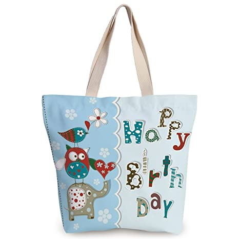 a1fb3786c iPrint Fun Canvas Tote Bag,Birthday Decorations for Kids,Patchwork Inspired  Owl Birds Elephant