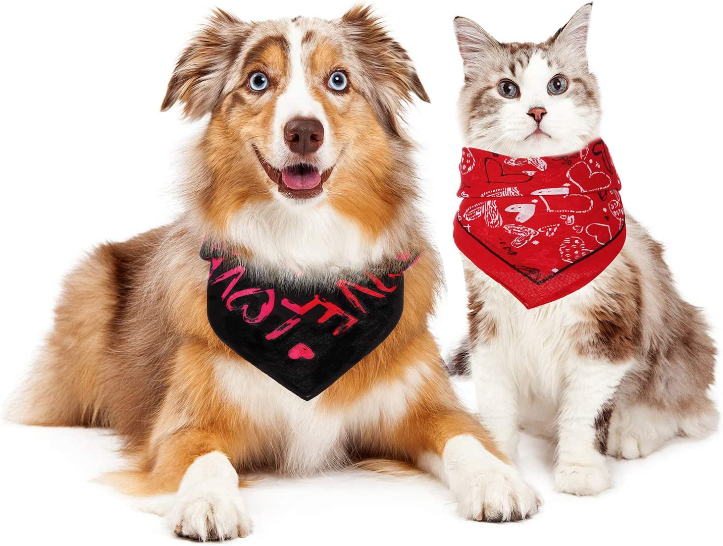 SATINIOR 4 Pieces Valentine/'s Day Pet Dog Bandanas Heart Washable Triangle Square Cute Pet Scarf Novelty Cotton Bibs for Dogs Cats Puppies