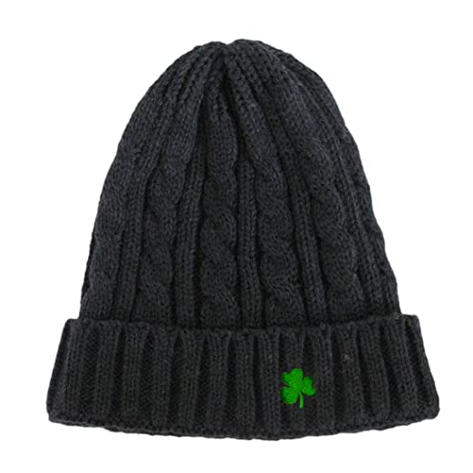 02edad19ae1606 Image Unavailable. Image not available for. Color: Man Of Aran Acrylic  Cable Knit Beanie Hat Dark Grey Colour with Green Embroidered Shamrock