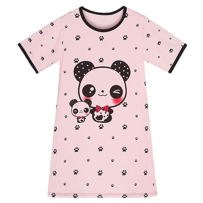 Camisón Bebé Niña Verano Pijama Chica Manga Corta en Algodón Rosa Panda 2-3años