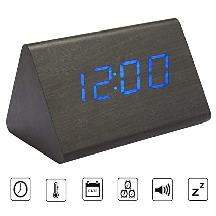 Amazon.com: Bioeilife Wooden Alarm Clock, Triangle USB Digital Alarm Desk Clock with Time Temperature and Voice Control (Black(Blue LED)): Home & Kitchen