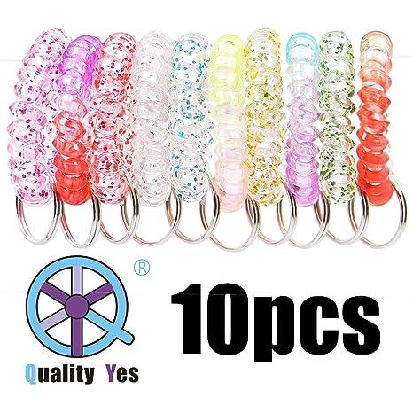 Amazon.com: QY - Llavero con espiral de plástico de colores ...