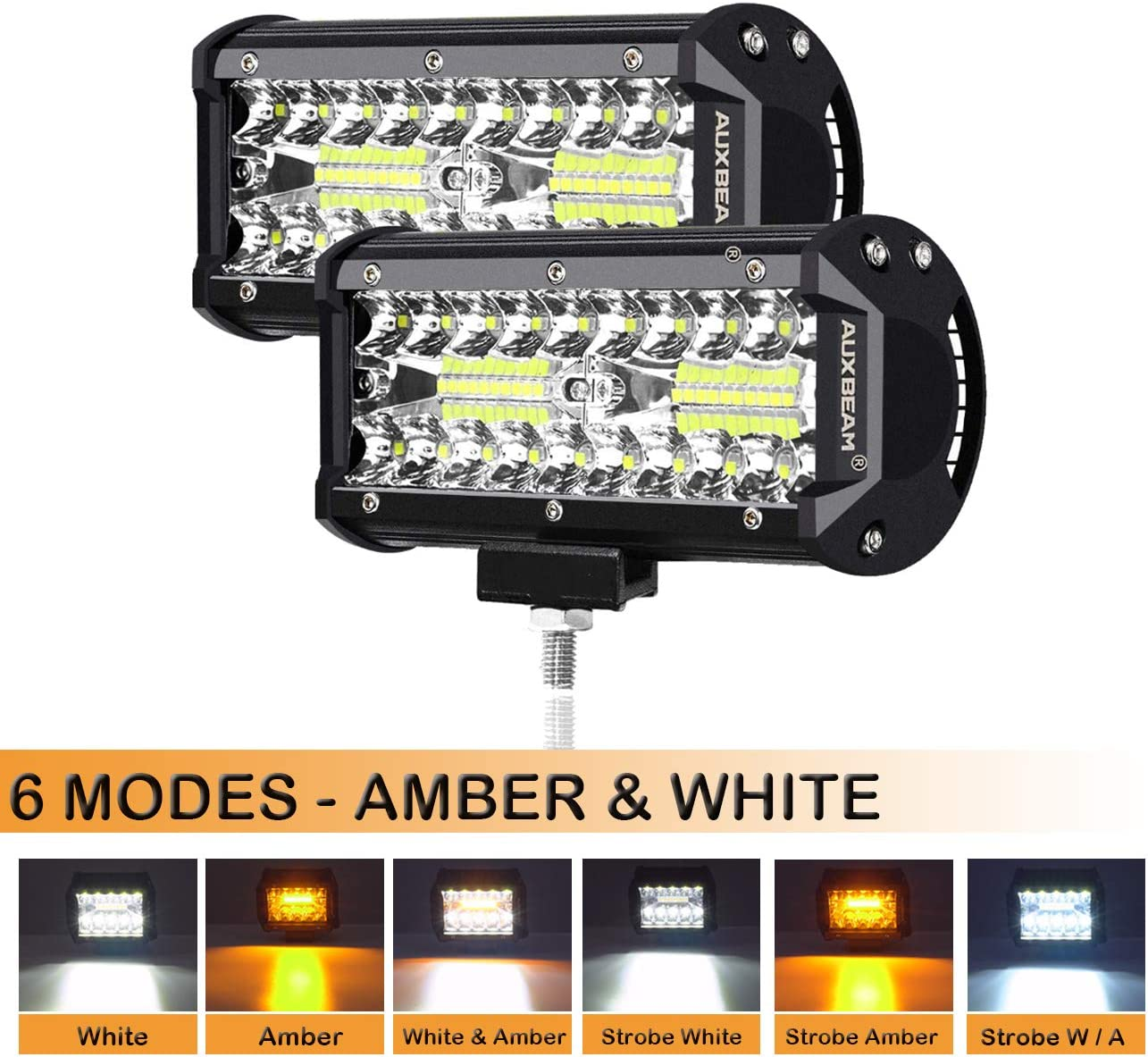 Auxbeam 7 Inch LED Light Bar 120W Light Pod Offroad Driving Light Spot LED Work Light Pod Lights with SIX Modes for Trucks Car Pickup ATV Jeep Boat Golf Cart(Pack of 2)