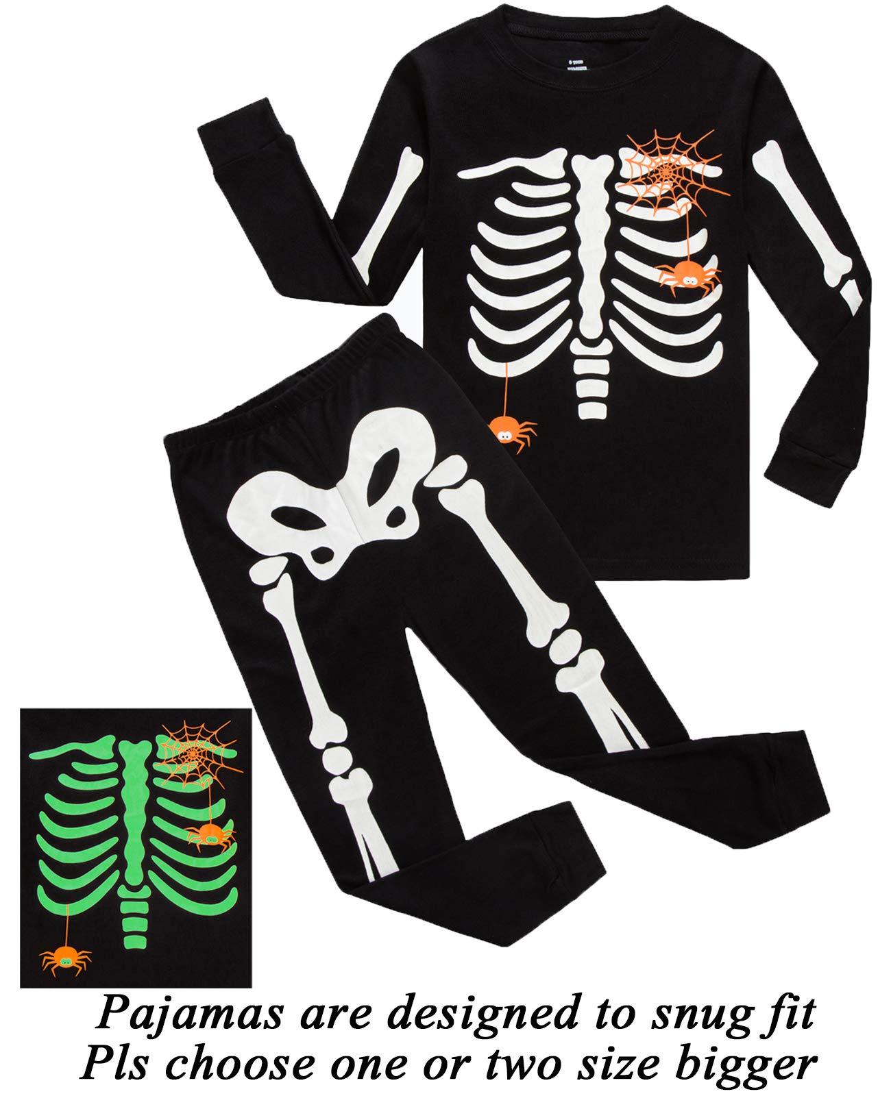 boys halloween pajamas skeleton glow in the dark toddler pjs kids clothes shirts size 4t