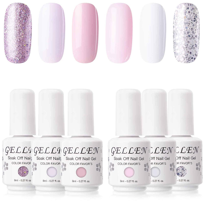 Amazon Com Gellen Gel Colors Nail Polish Set 6 Colors Baby Pinks Series Pure And Glitters Nail Art Manicure Pedicure Kit Beauty