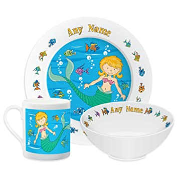 Personalised Dinner Set For Kids Mermaid Theme Set Childrens Tableware Dinner Plate  sc 1 st  Amazon UK & Personalised Dinner Set For Kids Mermaid Theme Set Childrens ...