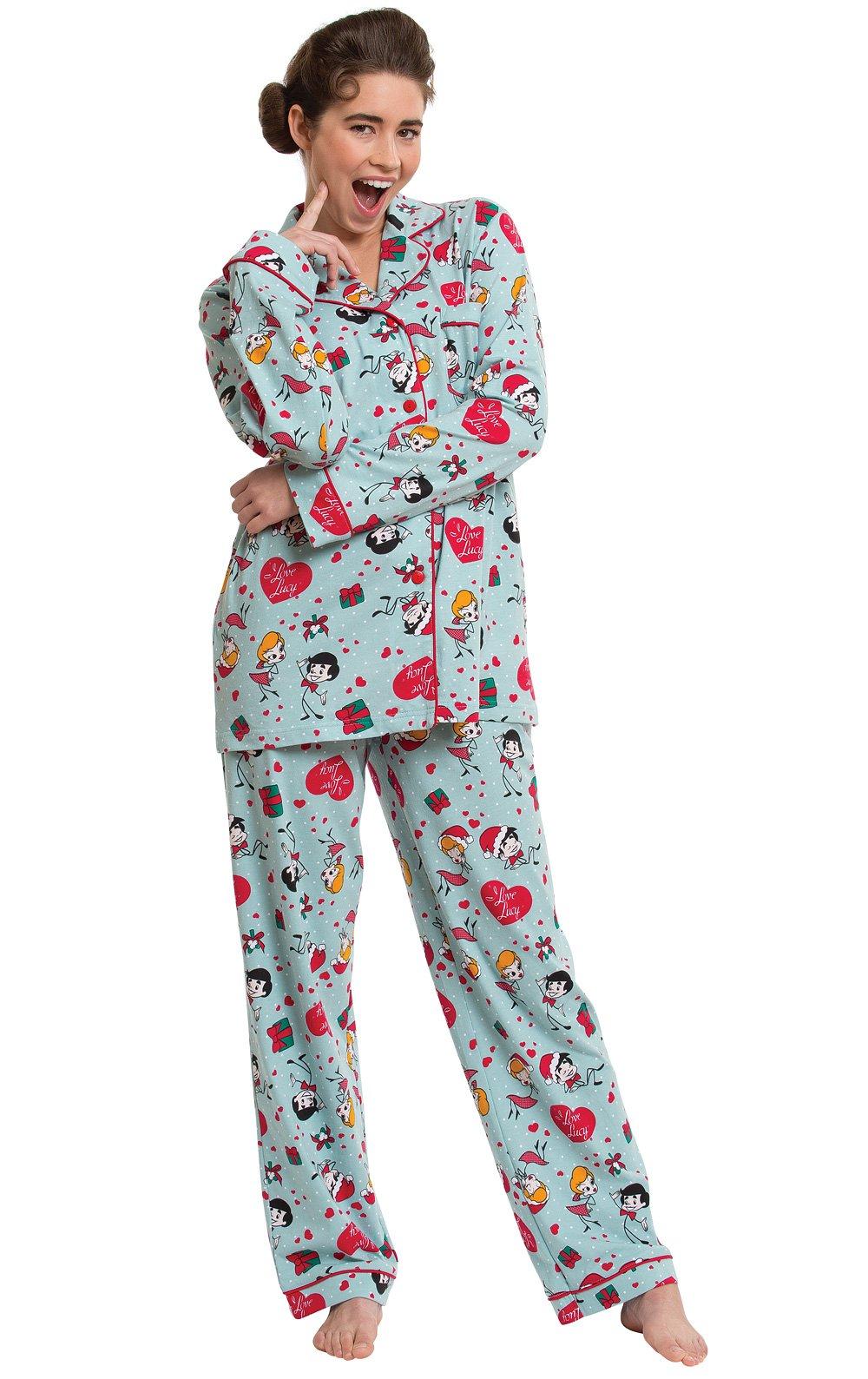 PajamaGram Women's Christmas Pajamas Cotton - I Love Lucy, Light Blue, M, 8-10