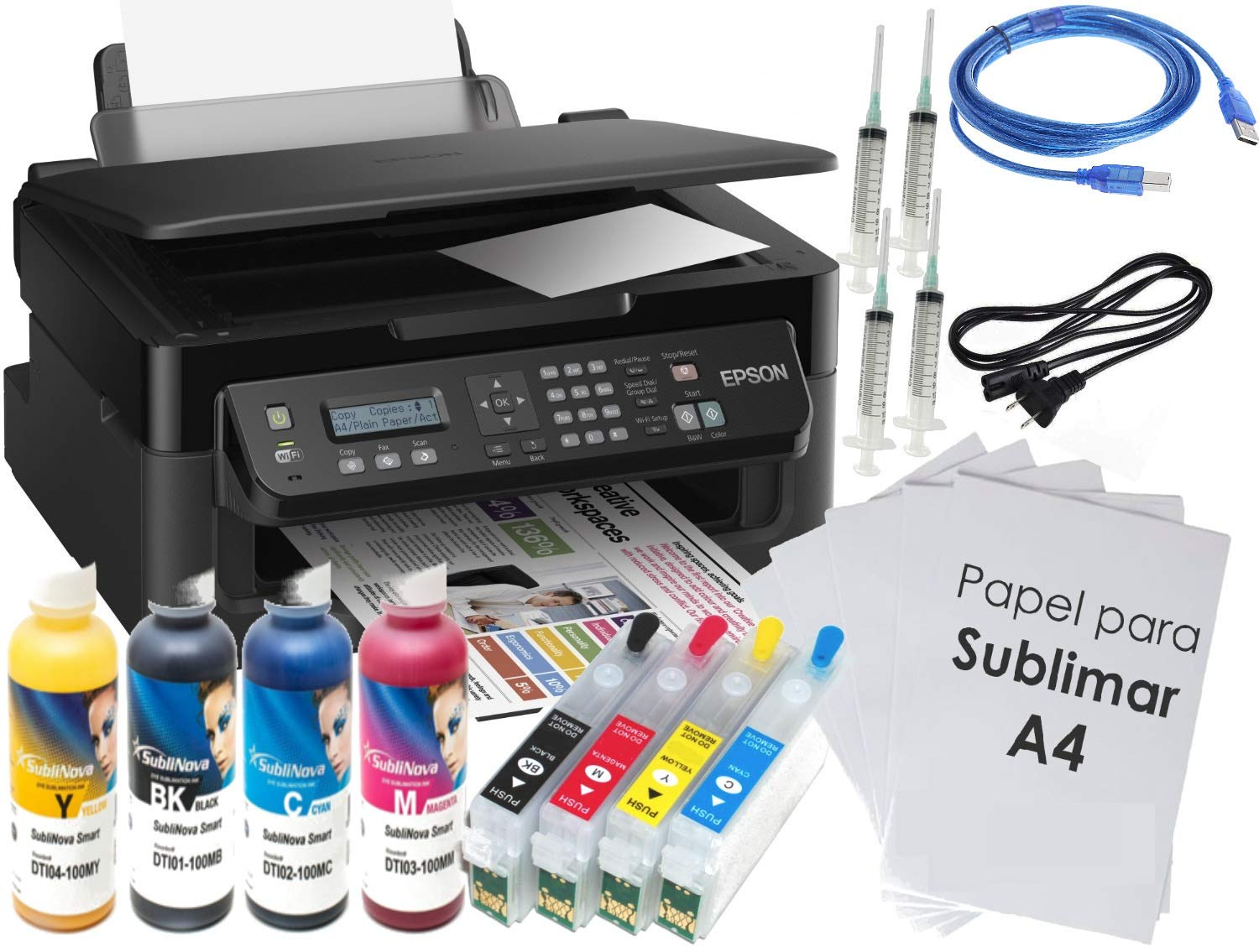 Kit Impresora SUBLIMACIÓN A4 WF-2510, Recargables, 4 X 100 ML ...