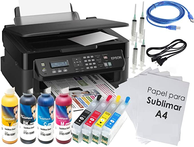 Kit Impresora SUBLIMACIÓN A4 WF-2510, Recargables, 4 X 100 ML ...
