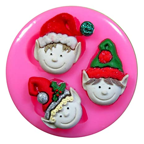 3 duendes de Navidad descarados Molde de silicona para la torta de Decoración Pastel de Cupcake