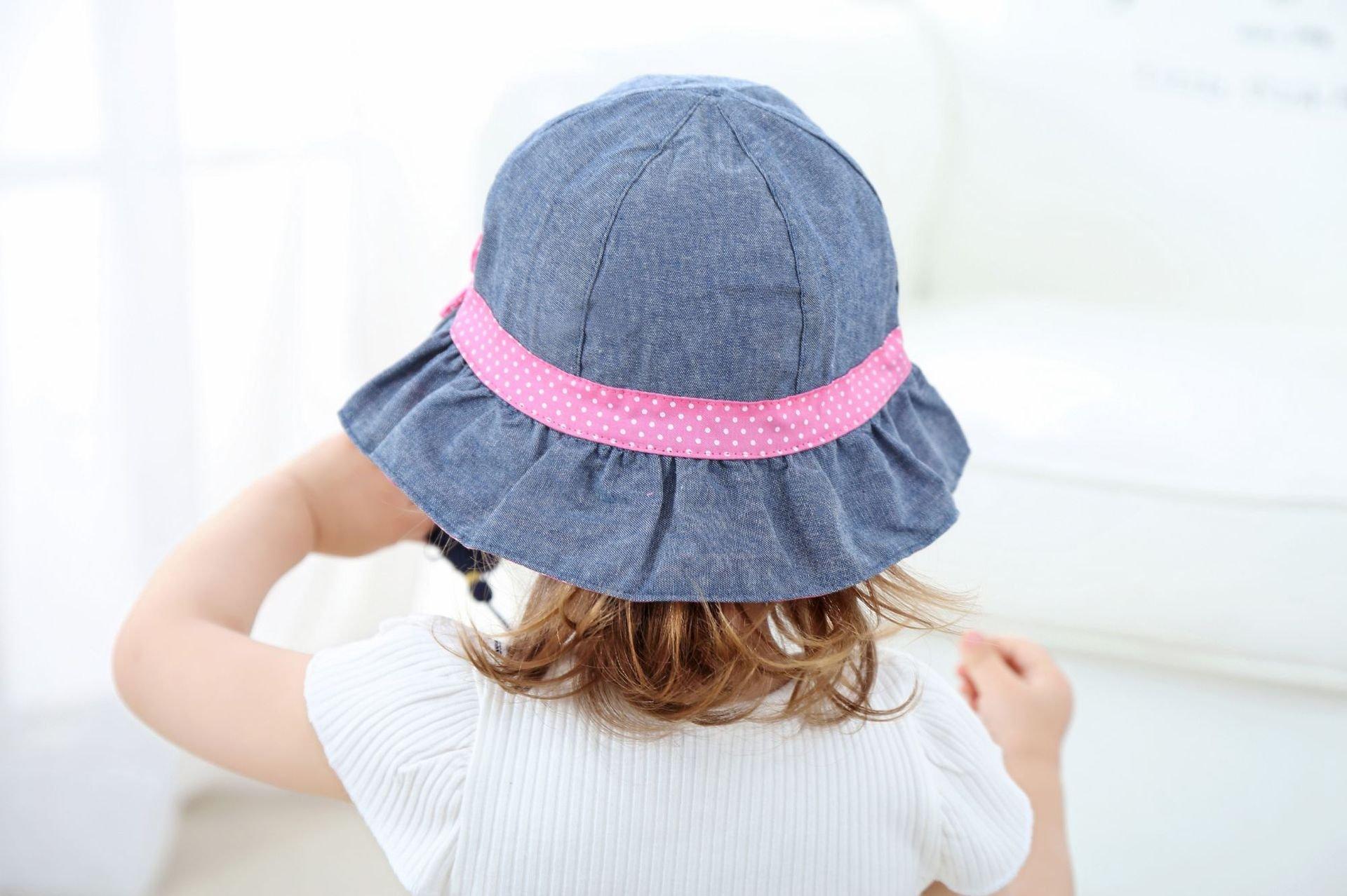 Toddler Baby Girls Denim Sun Hats with Chin Strap Kid Summer Cotton Sunhat Polka Dot Caps by HUIXIANG (Image #7)