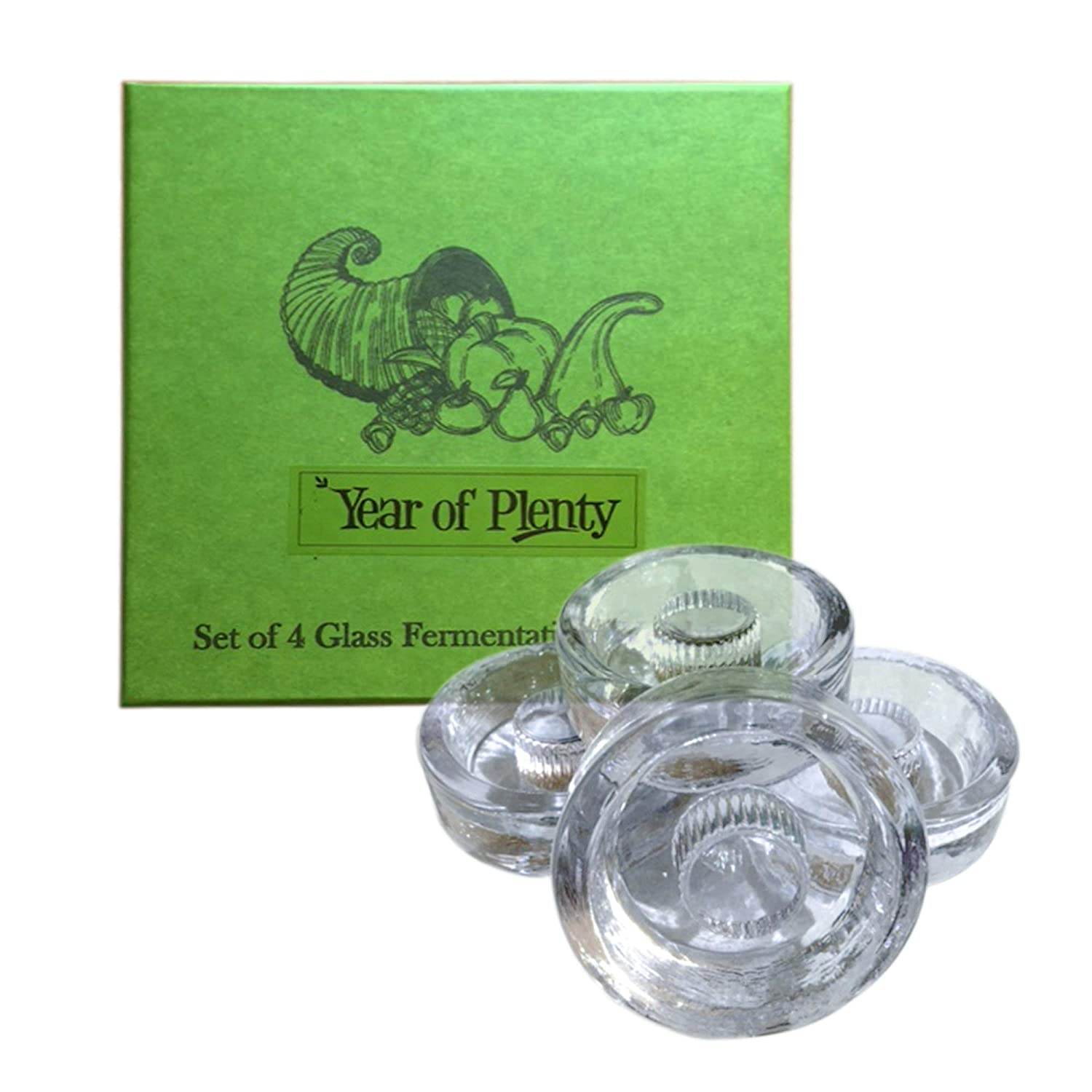 Year of Plenty Fermentation Weights - NonSlip Grip Handle - for Fermenting Sauerkraut, Pickles, Kimchi in Wide Mouth Mason Jars - Lead/Cadmium Free - (Set of 4) 4ButtonGripUS