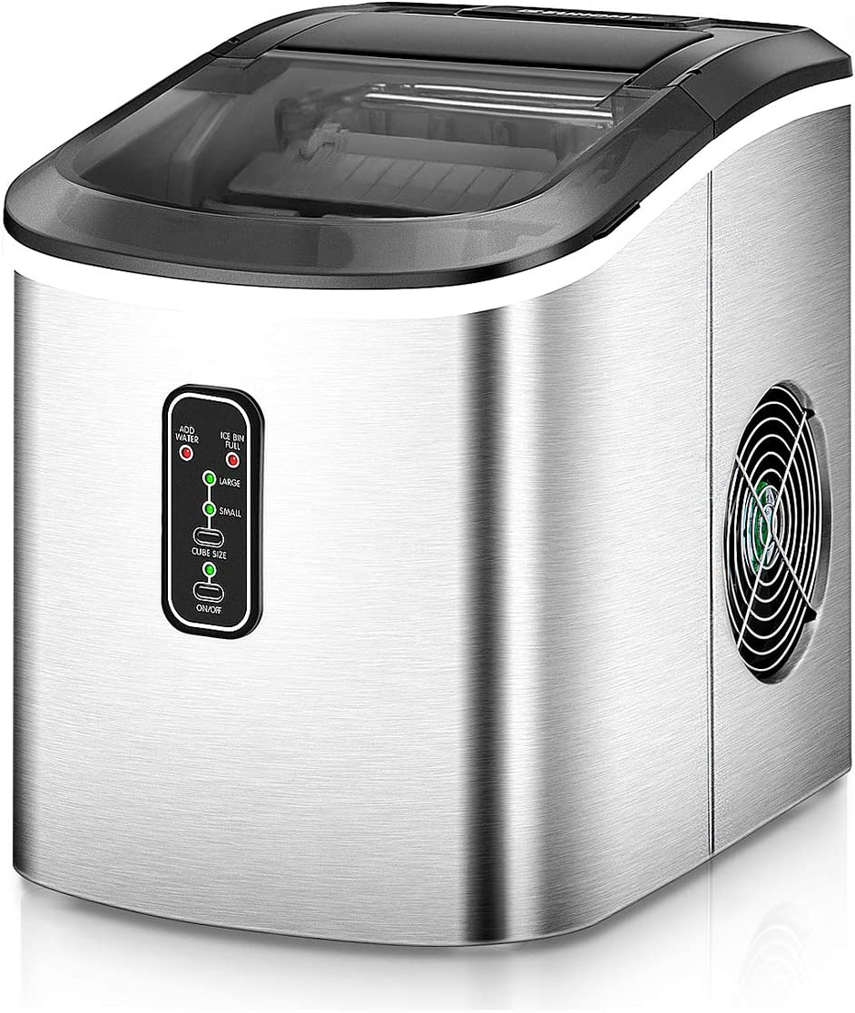 Amazon.com: Euhomy Ice Maker Machine Countertop, Makes 26 lbs Ice in 24 hrs- Ice Cubes Ready in 8 Mins, Compact&Lightweight Ice Maker with Ice Scoop and  Basket. (Silver): Appliances