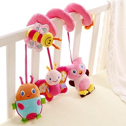 Happy Cherry Juguete Peluche Espiral de Actividades Sonajero con Sonidos Colgante Insectos para Bebés Recién Nacidos Niños Carrito Cochecito Cuna