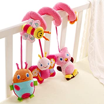 Happy Cherry Espiral de Actividades Sonajero Musical con Sonidos Música Colgante Multicolor Insectos para Bebés Recién Nacidos Niños Carrito Cochecito Cuna: ...