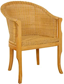 korb.outlet Fauteuil en rotin avec Pieds en Bois, fauteuils ...