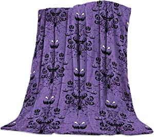 Funy Decor Halloween Super Soft Throw Blankets Warm Cozy Flannel Bed Haunted Mansion Grinning Ghosts Design Blanket Decorative for Home Sofa Couch Chair Living Bedroom,40x50 Purple Black