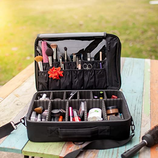 New BEST Professional Makeup Case Travel Makeup Bag Makeup Artist Cosmetic Train Case Cosmetic Organizer Big Makeup Bag Perfect Gift - Makeup Organizer & Makeup Brush Holder Bag/ Designer Makeup Case