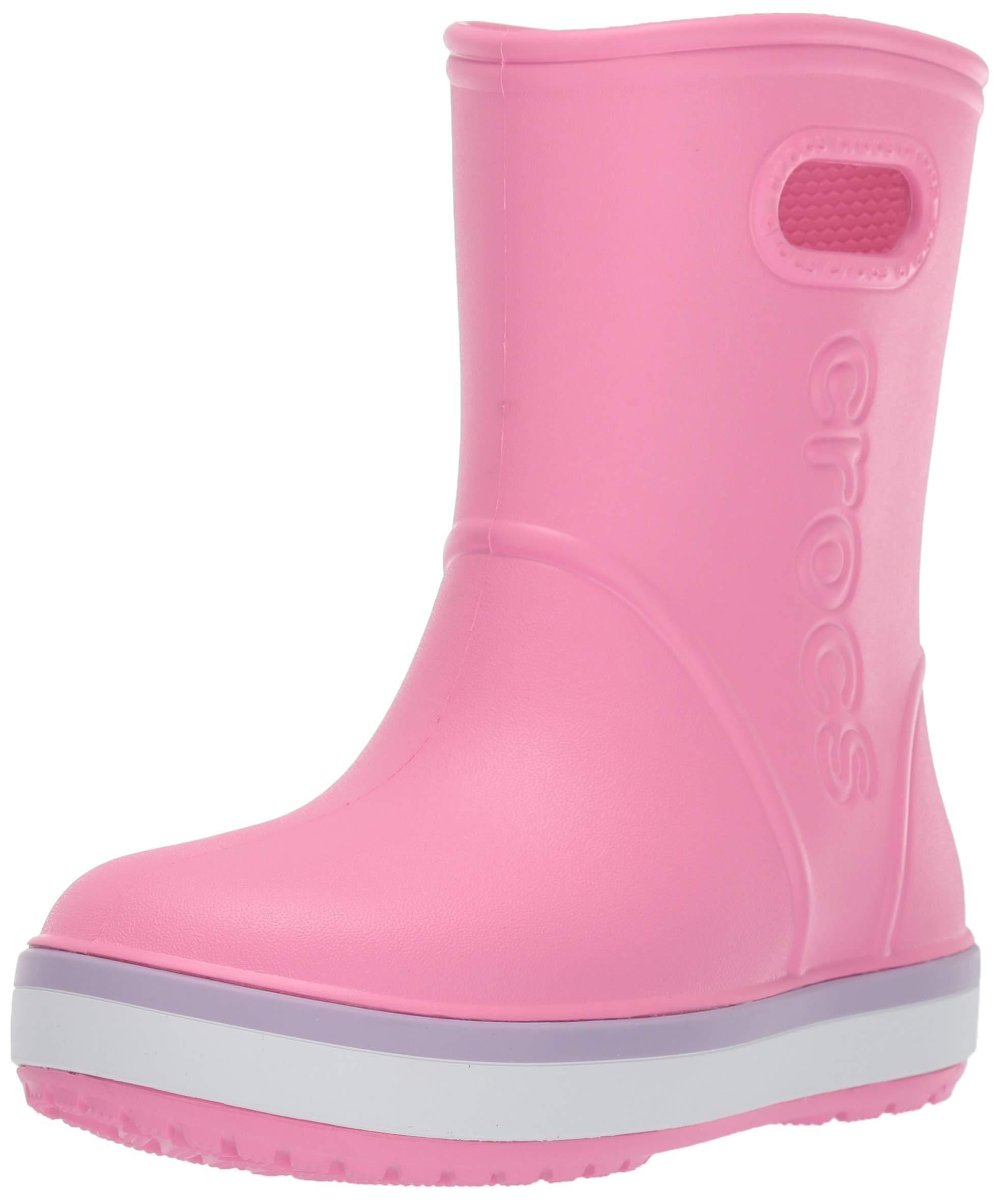 Crocs Unisex Crocband Rain Boot, Pink Lemonade/Lavender, 11 M US Little Kid