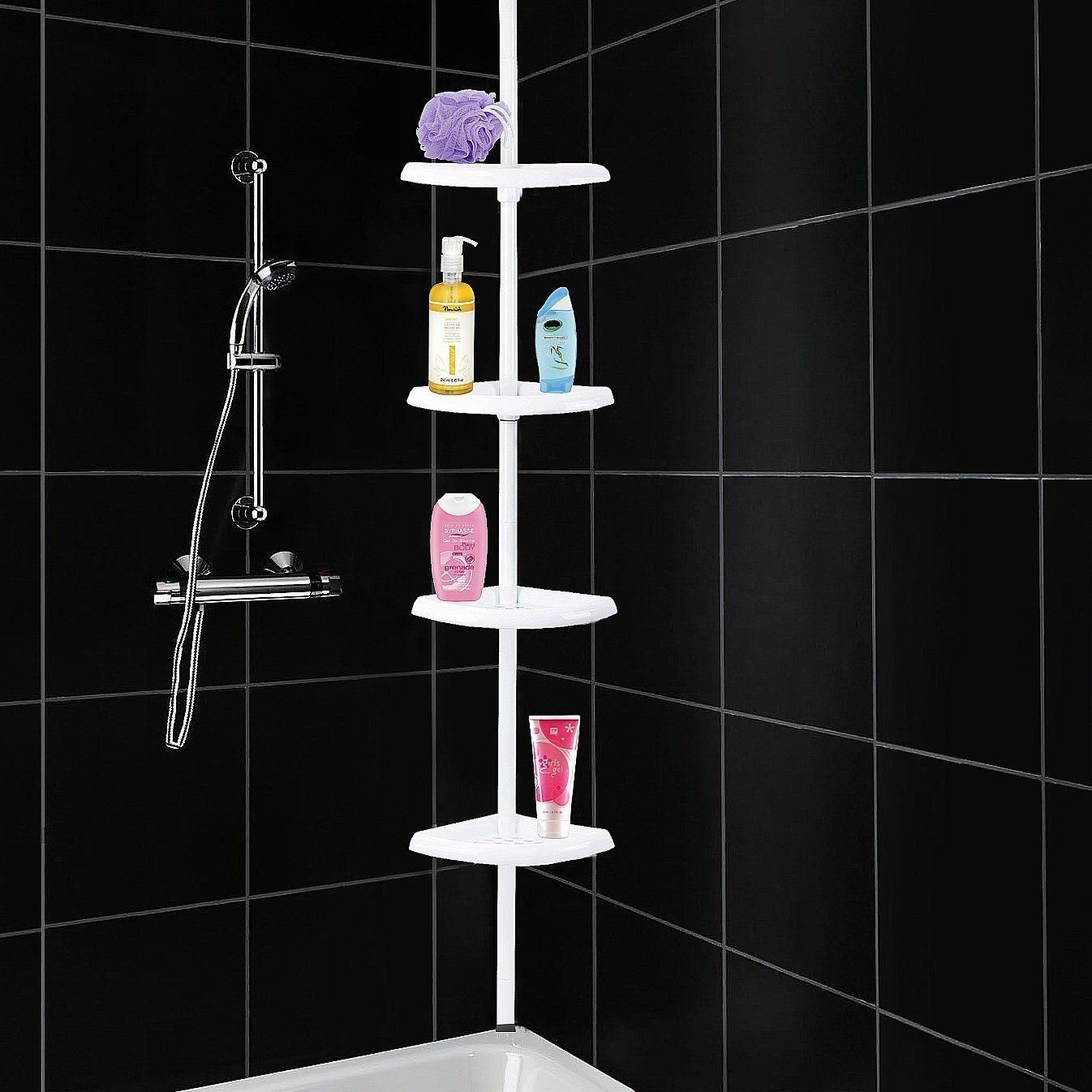 4 Tier Shelf Adjustable Corner Shower Caddy Telescopic Bathroom Shelf Toiletry Organiser Rust Free Tension Fitting From Ceiling to Floor/Bath ASAB - White
