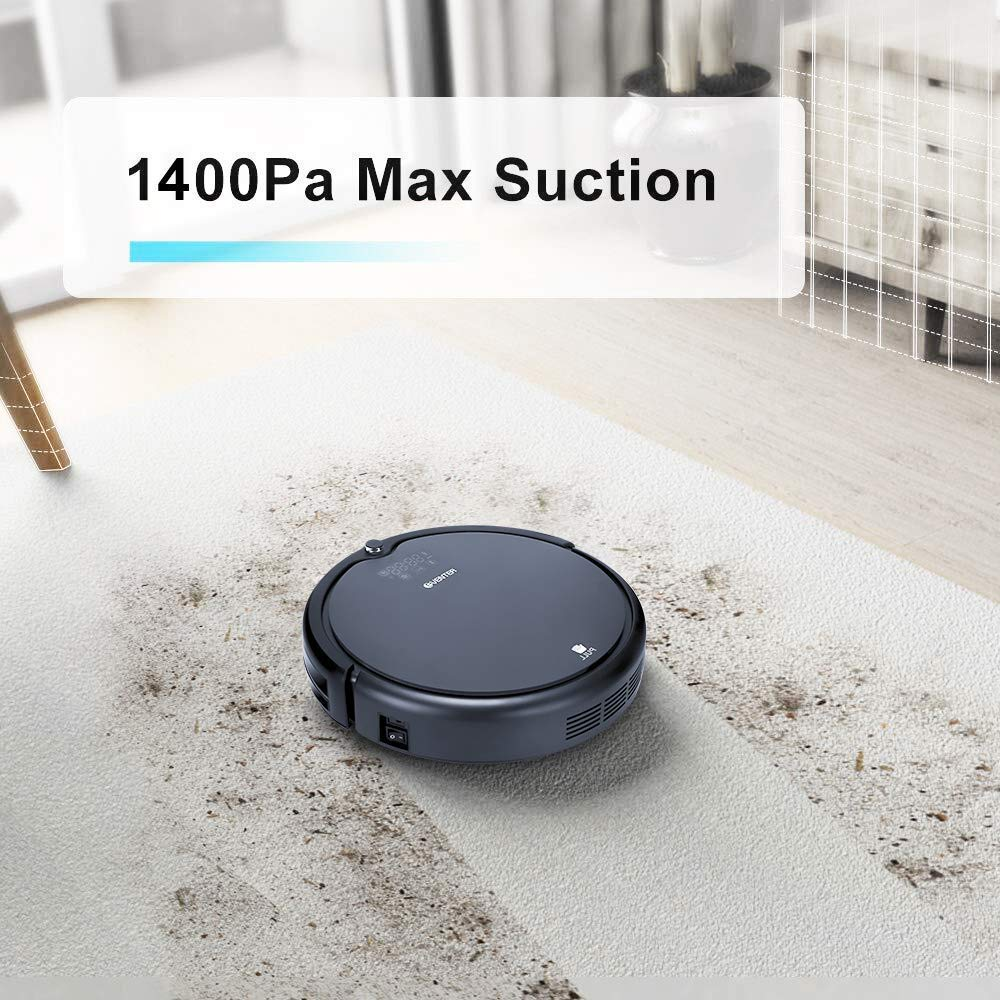 Virtual Wall EVENTER Robot Vacuum Cleaner Mopping Robot with Strong Suction Black Remote Control for Pet Hair Allergens Auto-Charging HEPA Filter System Black Hardwood Floor and Tile