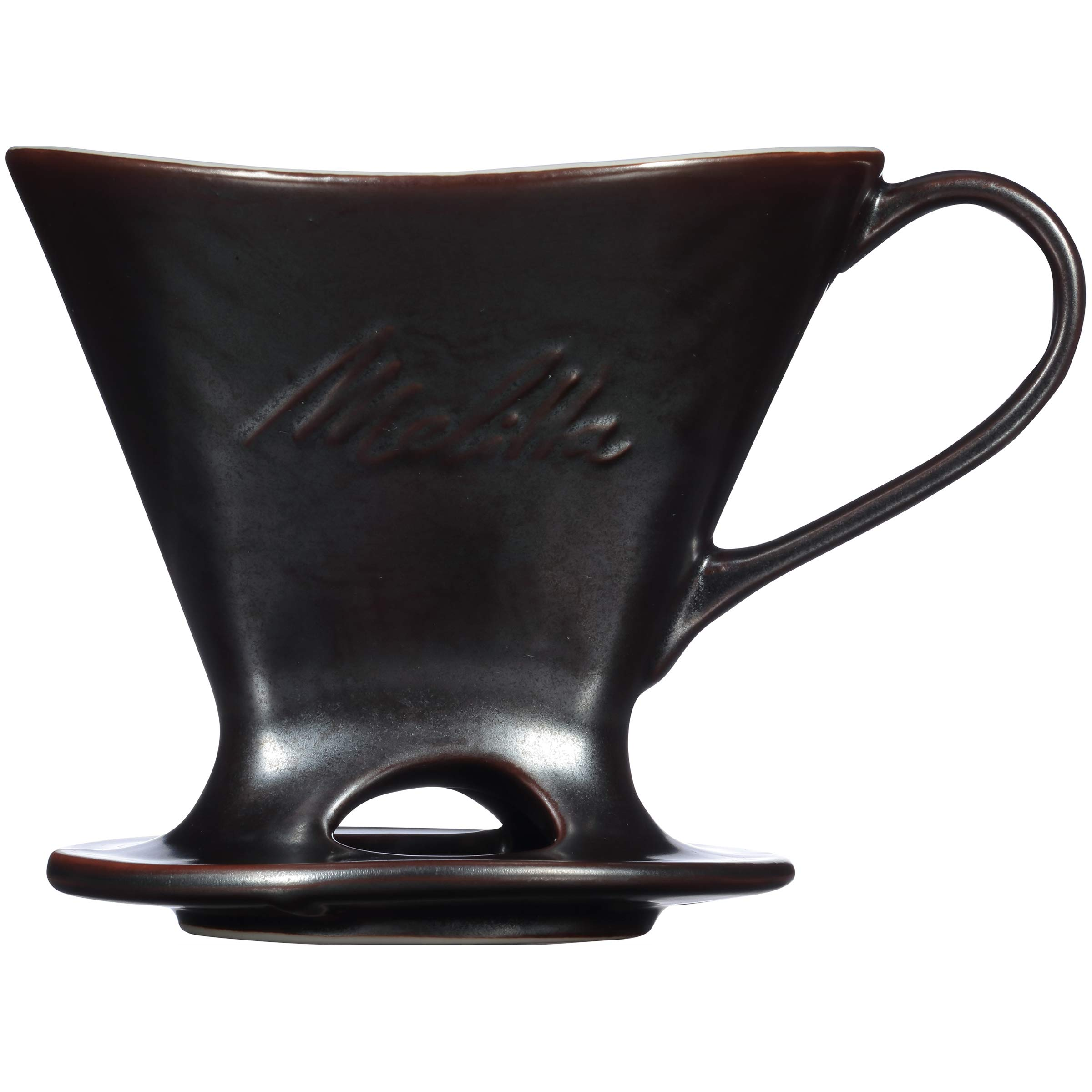 Melitta Signature Series Single Cup Porcelain Pour-Over Cone Coffeemaker, Gunmetal Gray by Melitta