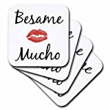 3dRose CST_201930_1 Besame Mucho Kiss Me in Spanish Picture of Red Lips on White Back Soft Coasters