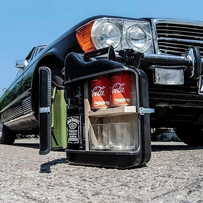 Bidon avec Deux Verres /à Long Drink 10L Vert Mikamax Bar /à Boissons Jerrycan Mix Meuble Bar Barre Mobile