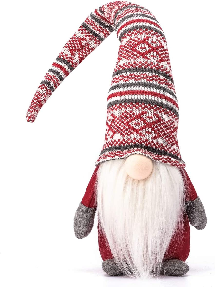 Funoasis Holiday Gnome Handmade Swedish Tomte, Christmas Elf Decoration Ornaments Thanks Giving Day Gifts Swedish Gnomes tomte (Red Stripe - 19 Inches)